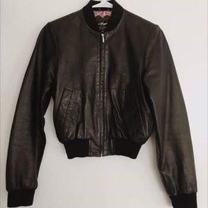 Black leather cropped bomber/aviator jacket